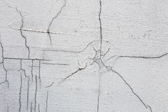 Texture of white dirty cracked wall. Small straight cracks. Direct fracture on painted surface. Cells fissure.  Stock Image