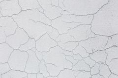 Texture of white dirty cracked wall. Small straight cracks. Direct fracture on painted surface. Cells fissure.  Royalty Free Stock Photos