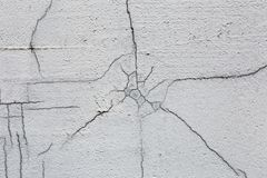 Texture of white dirty cracked wall. Small straight cracks. Direct fracture on painted surface. Cells fissure.  stock photo