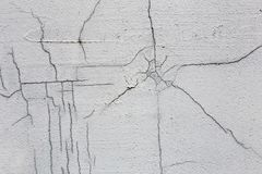 Texture of white dirty cracked wall. Small straight cracks. Direct fracture on painted surface. Cells fissure.  royalty free stock images