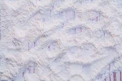 Texture of white natural flour poured on wooden Stock Photos
