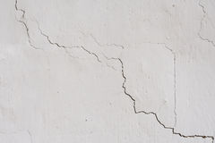 The texture on the white wall. Cracks, roughness Stock Photography