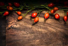 Texture wooden Background with wild rose fruits Stock Photography
