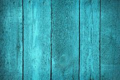 Texture of wooden blue fence Royalty Free Stock Photography