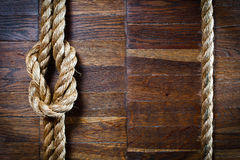 Texture of wooden boards with ship rope Royalty Free Stock Images