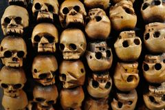 Texture of the wooden skull closeup Stock Photography