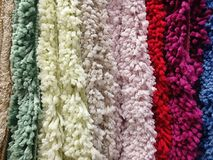 Texture of woolen carpets of different colors royalty free stock photos