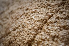 Texture yellow and beige wet uneven bumpy stone glitters in the sun. Calcium stalagnate growths, waterfall mountain in Georgia on the Georgian military road royalty free stock images