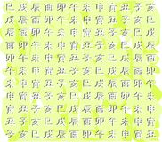 Texture with zodiac Chinese ideograms background Royalty Free Stock Image
