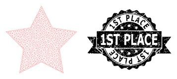 Free Textured 1St Place Ribbon Seal Stamp And Mesh 2D Red Star Royalty Free Stock Images - 196015249