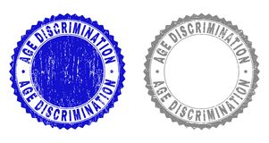 Textured AGE DISCRIMINATION Grunge Watermarks with Ribbon. AGE DISCRIMINATION stamp seals with grunge texture in blue and grey colors isolated on white royalty free illustration