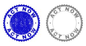 Textured aktów TERAZ Drapający znaczki z faborkiem ilustracja wektor