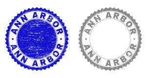 Textured ANN ARBOR Grunge Stamp Seals. Grunge ANN ARBOR stamp seals isolated on a white background. Rosette seals with grunge texture in blue and grey colors stock illustration