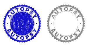 Textured AUTOPSY Grunge Stamps. Grunge AUTOPSY stamp seals isolated on a white background. Rosette seals with grunge texture in blue and grey colors. Vector stock illustration