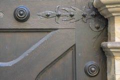 Texture, Old wooden door from medieval era. stock images