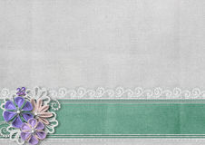 Textured background with border and handmade flowers Stock Photos