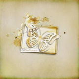 Textured background - with a box and a butterfly. Textured background with illustration - paper box, butterfly and a tag welcome Stock Image