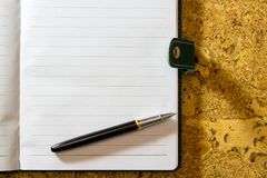 Pen, paper. A textured background. Copy paste place Royalty Free Stock Photography