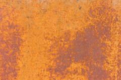 Textured background of a faded yellow paint with rusted cracks on rusted metal. Grunge texture of an old cracked metal. Textured background of a faded yellow Royalty Free Stock Images