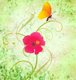 Textured background with flower and butterfly Royalty Free Stock Images