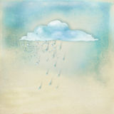 Textured background with illustration. Light blue textured background with a cloud, drops of rain and a boat Royalty Free Stock Photography