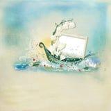 Textured background  with illustration. Light blue textured background with a boat and frame for a photo Stock Photos