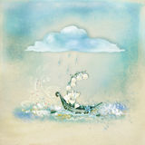 Textured background  with illustration. Light blue textured background with a boat and cloud, flowers and splashes of water Royalty Free Stock Image