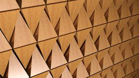 Background - wall of wooden pyramids - 3D rendering. A textured background made up with many 3D wooden pyramids alligned - 3D rendering illustration Royalty Free Stock Image