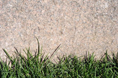 Textured background natural stone frame with grass.  Stock Photography