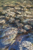 Textured background of rocks under water. Textured background of rocks underneath water near a waterfall stock image