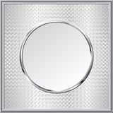 Plate. Textured background with round chromed banner Stock Photos