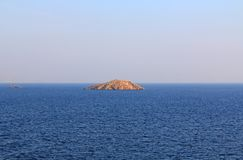 Copy Space of Water and Sky Background with Islands in Greece royalty free stock photo