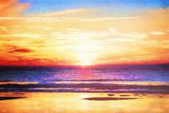 Sunrise Atlantic Ocean Digital Art royalty free stock image
