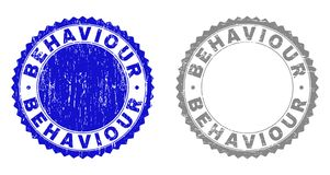 Textured BEHAVIOUR Scratched Watermarks. Grunge BEHAVIOUR stamp seals isolated on a white background. Rosette seals with grunge texture in blue and grey colors stock illustration