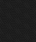 Textured black plastic diagonally cut hexagons Stock Photo