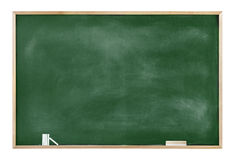 Textured Blackboard with Chalks and Eraser Stock Photography