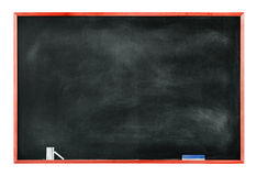 Textured Blackboard with Chalks and Eraser Royalty Free Stock Photography