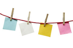Textured Blank Papers Hanging On Rope Stock Image
