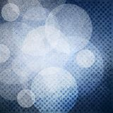 Textured blue background with tiny macro rows of block squares and white circle layers stock illustration