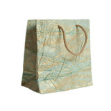 Textured blue with gold creased  paper gift bag Stock Image