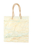 Textured blue with gold creased  paper gift bag isolated on whit Stock Images