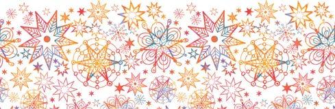 Textured boże narodzenie gwiazd Horyzontalny Bezszwowy ilustracja wektor