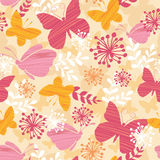 Textured Butterflies Seamless Pattern Background. Vector Textured Butterflies Among Branches Seamless Pattern Background with fun butterflies, leaves, flowers vector illustration