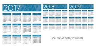 Textured Calendar 2017-2018-2019 vector. Textured blue English Calendar 2017-2018-2019 vector Royalty Free Stock Photography