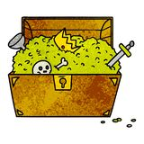Textured cartoon doodle of a treasure chest. A creative illustrated textured cartoon doodle of a treasure chest stock illustration