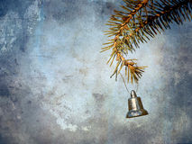 Textured Christmas bell hanging. Royalty Free Stock Photo