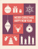 Textured Christmas Card with Stylized Ornaments Royalty Free Stock Images