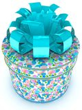 Textured circle gift box with bow  Stock Photography