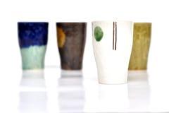 Textured coffee mugs Stock Photography