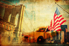 Textured collage of symbols from New York City royalty free stock photos